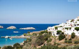 Widok na morze fragment miasta Lindos