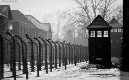 udka strażnicza i ogrodzenie z drutu kolczastego Auschiwtz