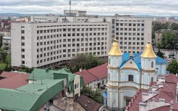 widok z ratusza Miasto Iwano Frankiwsk Ukraina