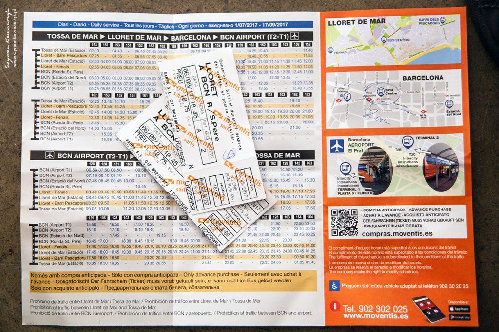 rozkład i bilety z Lloret de Mar do Barcelony